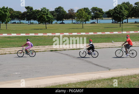 kids on bikes - Stock Image