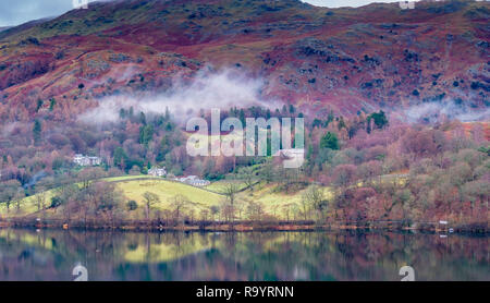 Mist on the lower flanks of Heron Pike and Whie Moss Common, near Grasmere, Lake District, Cumbria - Stock Image