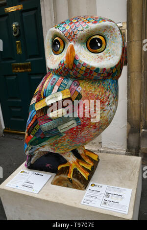 A literary Owl of Bath, JKOwling, outside Nelson House in Bath during 2018 event.All of the Owls were sponsored and auctioned at the end of the event  - Stock Image