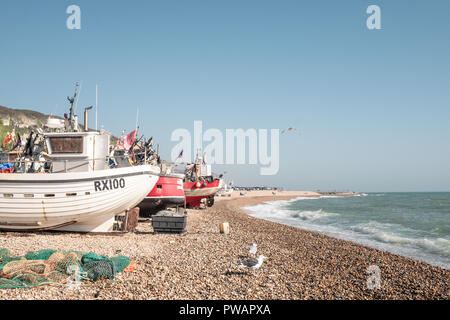 Fishing Boats, Hastings, Beach, East Sussex, UK - Stock Image