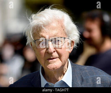Kenneth Baker, Baron Baker of Dorking, on College Green, Westminster, 24th May 2019, the day Theresa May announced her intent to resign as Conservativ - Stock Image