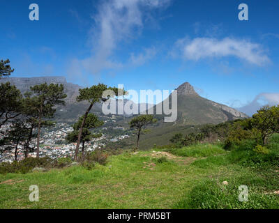 Lion's Head mountain from Signal Hill, Cape Town, South Africa, with Table Mountain on the left - Stock Image