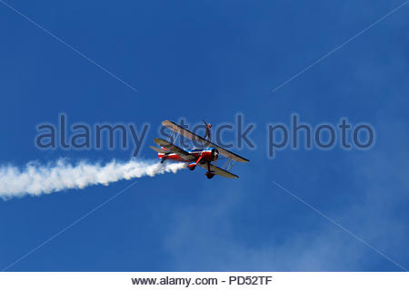 Wingwalker at an air show, Owls Head, Miane, USA - Stock Image
