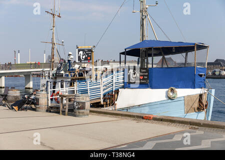 Tipsy Mermaid Bar – Microbrewery Beers; bar on-board an old fishing vessel, Copenhagen Harbour, Denmark - Stock Image