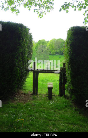 A stile on a footpath enters a field between two hedges near the north Oxfordshire village of Hook Norton - Stock Image