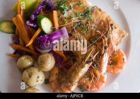 south africa western cape St James The boardwalk restaurant shrimps - Stock Image
