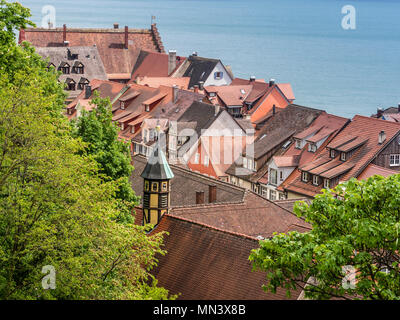View over downtown of Meersburg, Lake Constance, roof of mediavel village, Germany - Stock Image