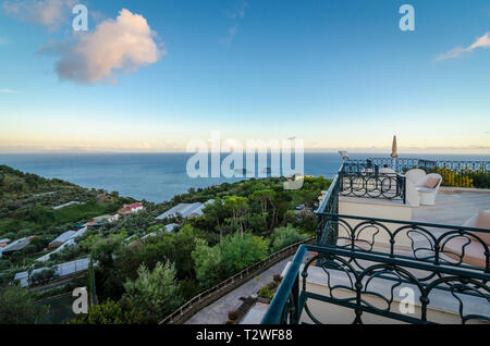 Hotel rooftop terrace on a hill overlooking the Amalfi Coast between Sorrento and Positano, Italy - Stock Image