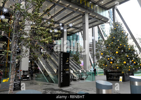 Christmas tree with bauble decorations outside the Leadenhall office building in the City of London UK  KATHY DEWITT - Stock Image