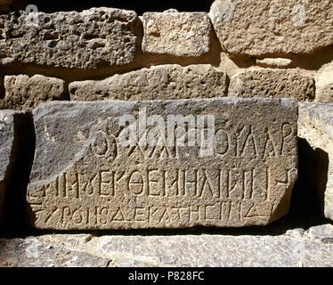 Syria. Bosra (Busra al-Sham). Daraa District. Inscription carved on a stone slab. Roman Theater. - Stock Image