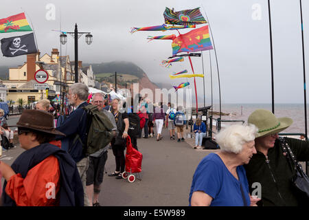 Crowds on sea front promenade during Sidmouth Folk Week 2014. - Stock Image