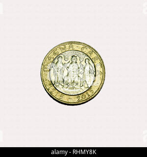 Limited edition British £2 coin commemorating the signing of the Magna Carta - Stock Image