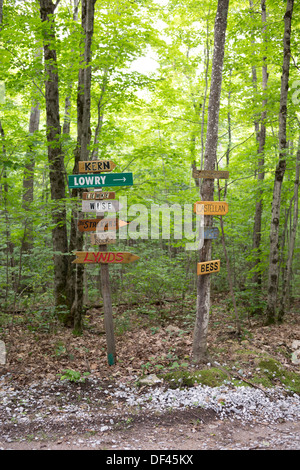 Name signs, showing the direction to peoples cottages on the lakes Canada. Near Toronto. - Stock Image
