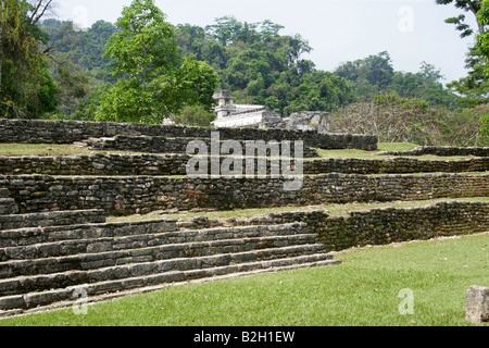 Stone Terraces and Palace, Palenque Archeological Site, Chiapas State, Mexico - Stock Image