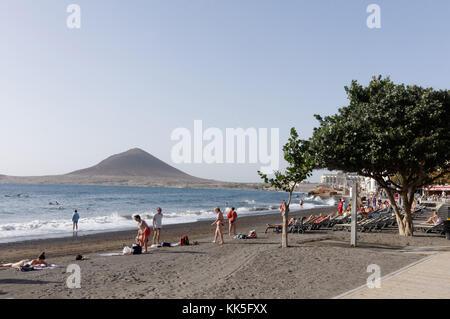 Mirador Montaña Roja El Médano Beach tenerife beaches black sand canary island islands canaries  beach - Stock Image