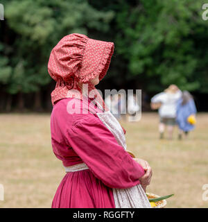 Duncan Mills, CA - July 14, 2018: Lady dressed in civil war costume. The Civil War Days is one of the largest reenactment events on the West Coast and - Stock Image