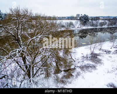 Vilnius, Lithuania: aerial top view of ice drift in Neris river - Stock Image