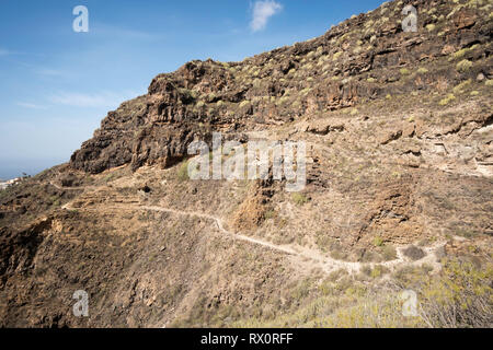 Footpath along the gorge called the Barranco del Infierno, Adeje, Tenerife, - Stock Image
