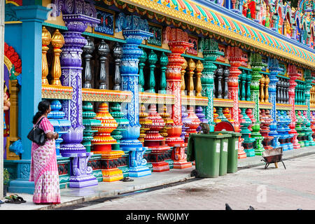 Batu Caves, Columns of Hindu Temple at Base of Stairs Leading to Caves, Selangor, Malaysia. - Stock Image