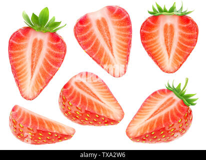 Isolated strawberry pieces. Collection of cut strawberry fruits isolated on white background with clipping path - Stock Image