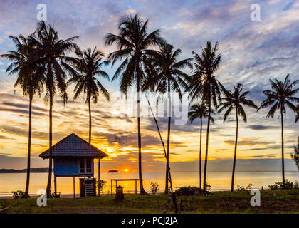 tropical sunrise behind palm trees over the Gulf of Thailand, Sanamwan beach - Stock Image