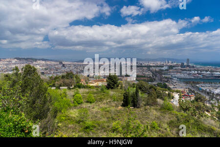 View of the city center and business district of Barcelona, Catalonia, Spain. - Stock Image