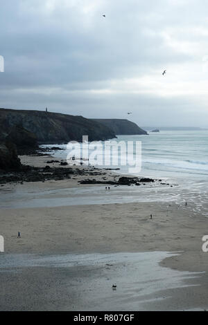 Porthtowan beach in Cornwall. - Stock Image