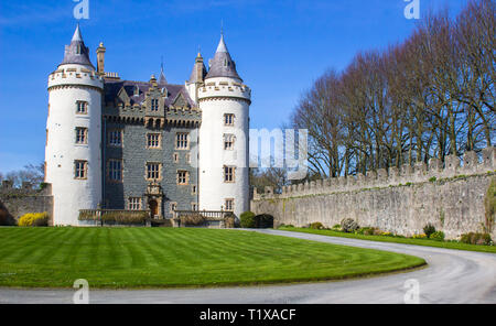 28 March 19 The Privately owned Killyleagh Castle in County Down Northern Ireland. The castle has the architectural style of a traditional Loire valle - Stock Image