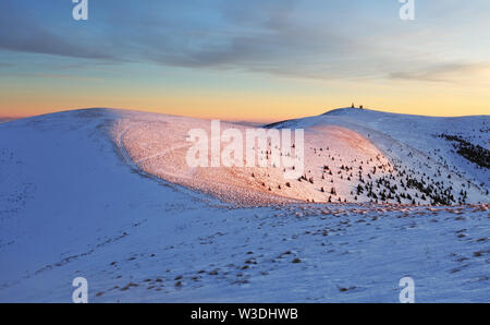Winter mountains landscape at sunset - Slovakia - Fatra - Stock Image
