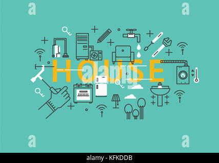 English letters for HOUSE with infographic illustration - Stock Image