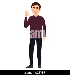 Happy young guy shows gesture okay, cartoon character vector illustration - Stock Image