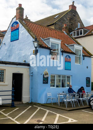 Spin Drift Confectionery popular café on the sea front at Staithes harbour North Yorkshire England UK - Stock Image