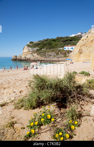 Portugal, Algarve, Benagil, Beach & Cliffs - Stock Image