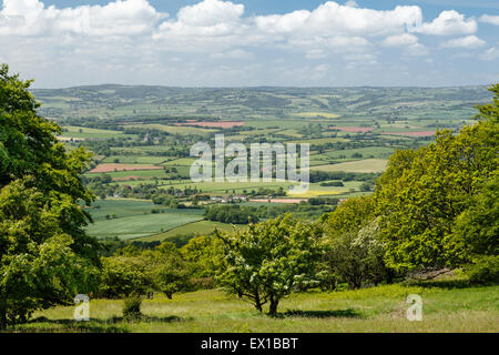 View looking West from Lydeard Hill on the Quantocks. - Stock Image