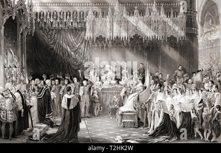 The coronation of Queen Victoria, 28 June 1838.  Victoria, 1819 – 1901.  Queen of the United Kingdom of Great Britain and Ireland.  After the painting by Sir George Hayter. - Stock Image