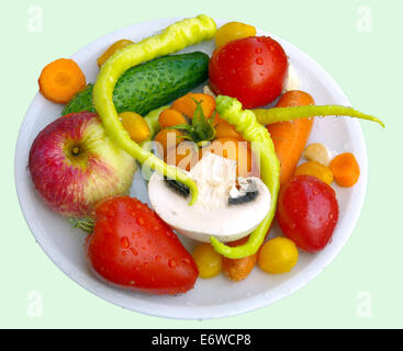 Fresh fruits and vegetables from a home garden.Close-up. - Stock Image