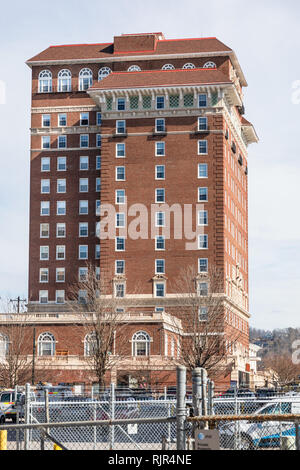 ASHEVILLE, NC, USA-2/3/19: The left side of the historic Battery Park Hotel building, now used for senior apartments. - Stock Image
