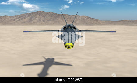 Fighter Jet, futuristic military airplane flying over a desert with mountains in the background, front view, 3D rendering - Stock Image
