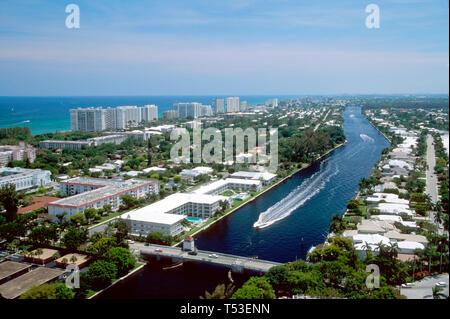 Boca Raton Florida Intracoastal Waterway Atlantic Ocean beyond - Stock Image