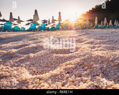 The white marble sand at Marble Beach and Porto Vathy Beach, Thasos, Greece, detail - Stock Image
