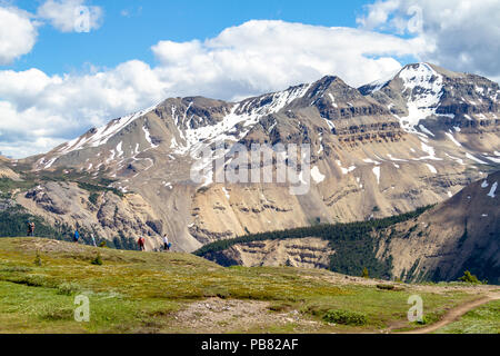 JASPER, CANADA - JUL 8, 2018: Hikers at the crest of Parker Ridge on the Icefields Parkway in Jasper National Park with the Canadian Rockies - Stock Image