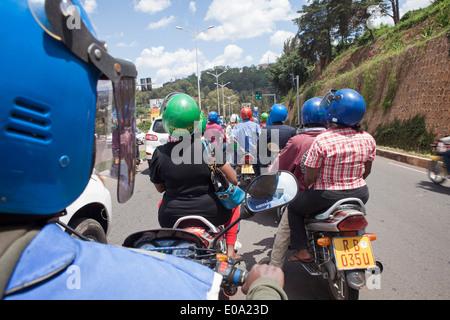 Moto taxis in Kigali, Rwanda - Stock Image