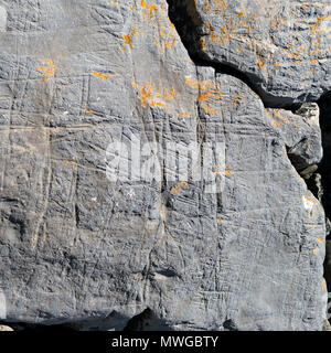 Closeup of multi-directional drift ice abrasion marks mudstone rock shown in Alamy image MWGBW2, Glen Scaladal Bay, Isle of Skye, Scotland UK - Stock Image