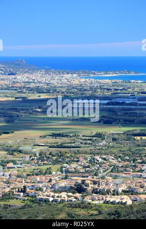 Top view above Roquebrune sur Argens and Frejus, 83, Var, Cote d'azur, PACA, - Stock Image