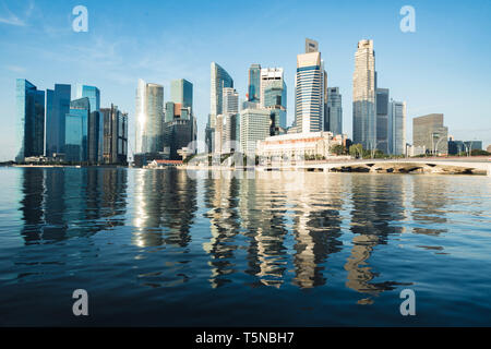 Singapore business district skyline and skyscraper in morning at Marina Bay, Singapore. - Stock Image