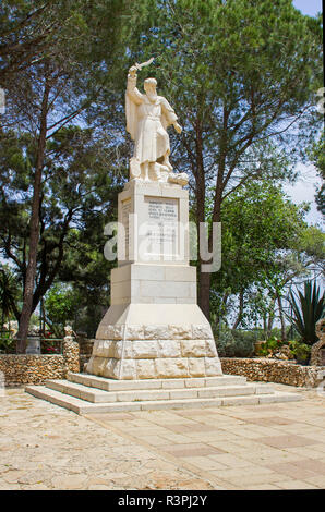 5 May 2018 A stone statue of the ancient Bible prophet Elijah erected at the visitors centre on top of Mount Carmel in lower Galilee Israel. - Stock Image