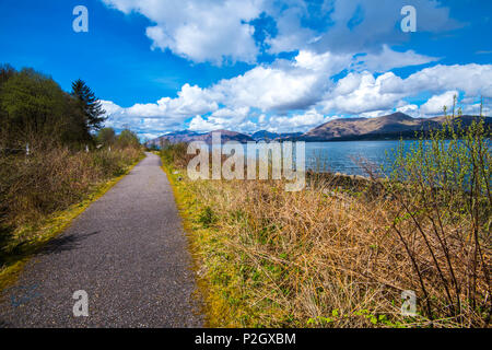 A section of the Oban to Fort William National Cycle Network route 78, north of Port Appin in the Highlands of Scotland. It runs alongside Loch Linnhe - Stock Image