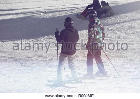Skiers on ski field - Stock Image