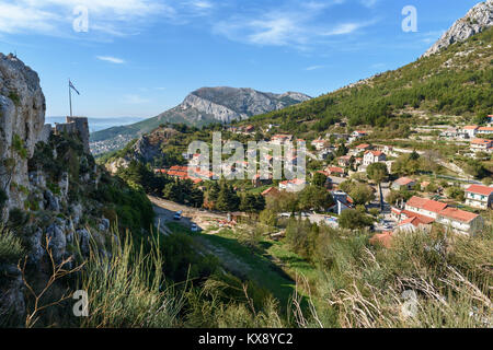 Klis Fortress & Klis-Megdan Village near Split, Croatia - Stock Image