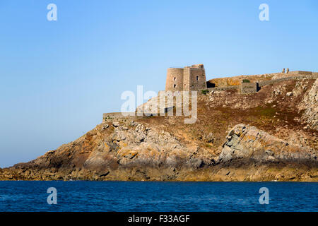 The fort in Moines Island, Ile aux Moines, Sept-Iles archipelago, Cotes d'Armor, Brittany, France. - Stock Image